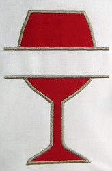 Split Wine Glass Appliqué